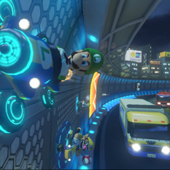 Luigi and Wario on an anti-gravity section.