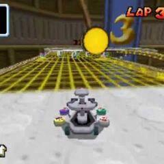 R.O.B., racing on the track.