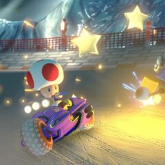 Rosalina and Toad racing on the track.