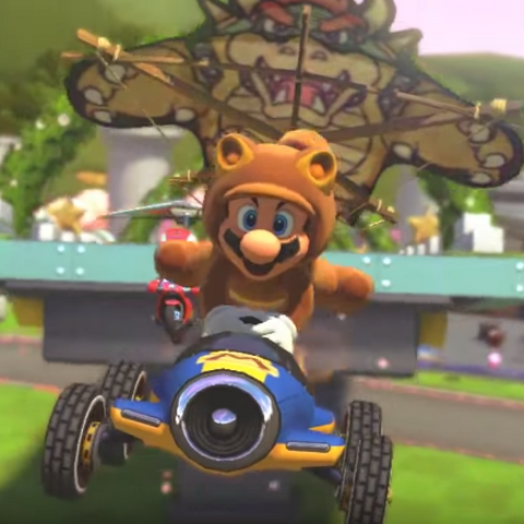 Tanooki Mario performing a Trick.
