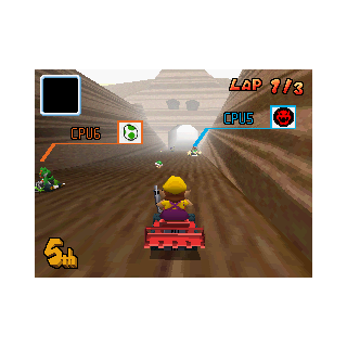 Wario racing through Choco Mountain in <a href=