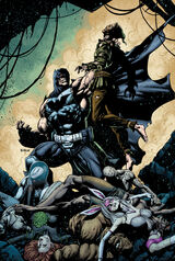 """""""Batman"""" Bane standing over the defeated Arkhamites"""