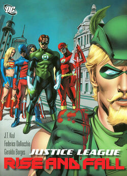 Cover for the Justice League: Rise and Fall Trade Paperback