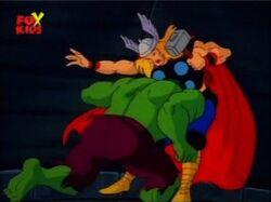 Hulk Tackles Thor