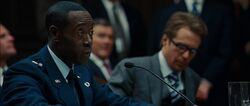 Don Cheadle James Rhodey Rhodes Sam Rockwell Justin Hammer Iron Man 2 Pic
