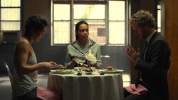 Wing, Claire and Rand dine together
