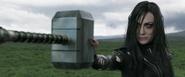 Hela holds Mjølnir