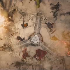 Vengadores protegiendo el núcleo de los Centinelas de Ultrón.
