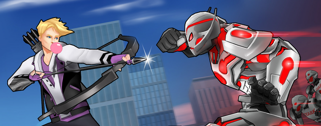 File:Clinton Barton (Earth-TRN562) and Ultron (Earth-TRN562) from Marvel Avengers Academy 001.png