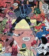 Maximus (Earth-616) posing as Black Bolt ordering the Inhumans to attack the Avengers from Avengers Annual Vol 1 12