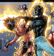 Joshua Foley (Earth-616) and Laura Kinney (Earth-616) from New X-Men Vol 2 31 0001