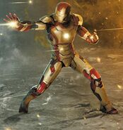 Anthony Stark (Earth-199999) with Iron Man Armor MK XLII (Earth-199999) concept art