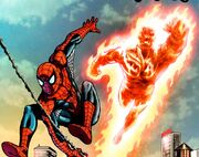 Peter Parker (Earth-616) and the Human Torch from Spider-Man Human Torch Vol 1 1