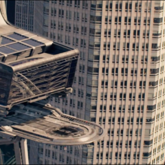 The Quinjet arriving at Avengers tower.