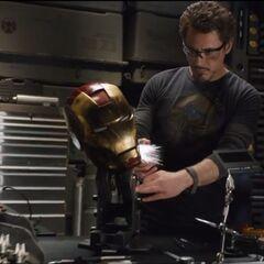Tony working on his helmet.