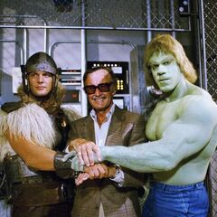 Behind the scenes with Stan Lee, Thor and Hulk.