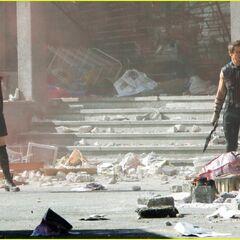 Elizabeth Olsen and Jeremy Renner on set