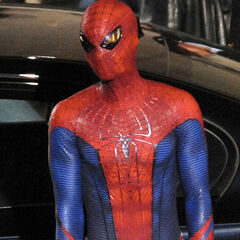 Andrew Garfield on set as Spider-Man.