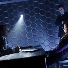 Coulson and Ward interrogating Skye.