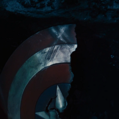 Captain America's shield seemingly cracked in half and shattered