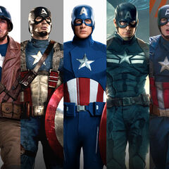Captain America's evolutionary uniforms in the Marvel Cinematic Universe.