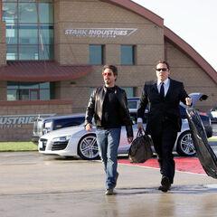 Tony & Happy preparing to board the Stark jet.