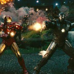 Iron Man and War Machine fighting Hammer Drones.
