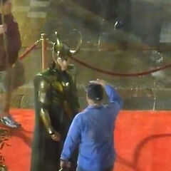 Tom Hiddleston on set as Loki