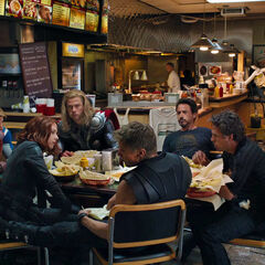 Tony and The Avengers in a Shawarma restaurant.