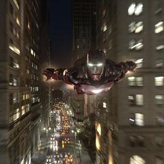 Iron Man flying.