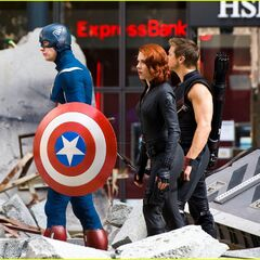 Scarlett Johansson, Chris Evans and Jeremy Renner on set as Black Widow, Captain America and Hawkeye.
