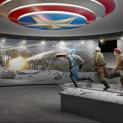 Concept art for the Howling Commandos' standee at the Smithsonian.