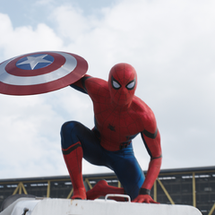 Spider-Man wielding Captain America's shield.
