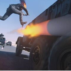 Ghost Rider jumping.