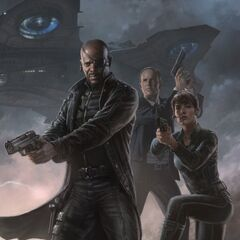 Promo art of Coulson with Fury and Hill.