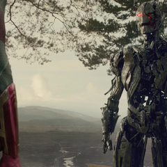 Ultron is confronted by Vision