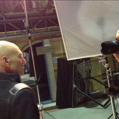 Patrick Stewart on set.