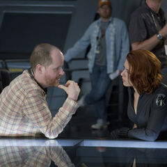 Joss Whedon and Scarlett Johansson.