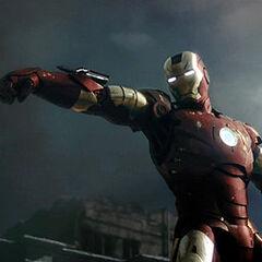 Iron Man in battle.