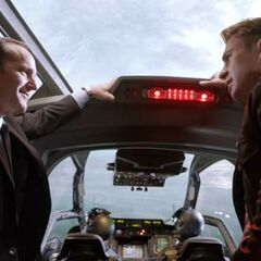 Coulson with Steve Rogers in the Quinjet.