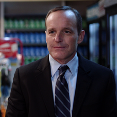 Coulson checks out with his doughnuts