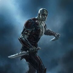 An early concept art for Drax with the likeness of Jason Momoa.