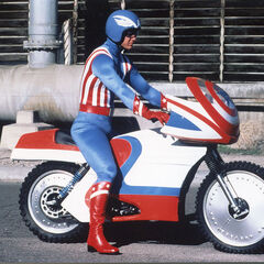 Captain America on his motorcycle