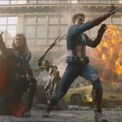Captain America and Thor defend against an alien attacker.