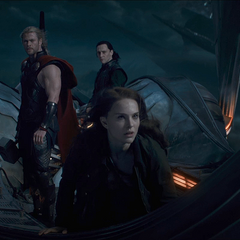 Jane with Thor and Loki.