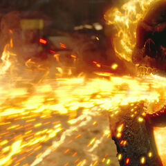 Ghost Rider shooting bullets from his mouth.