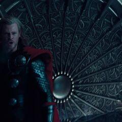 Thor battles Loki.