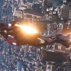 Iron Man in flight.