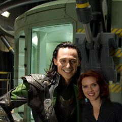 Tom Hiddleston (Loki) on the set with Scarlett Johansson (Black Widow).