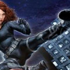 Black Widow in Avengers Promo Art.
